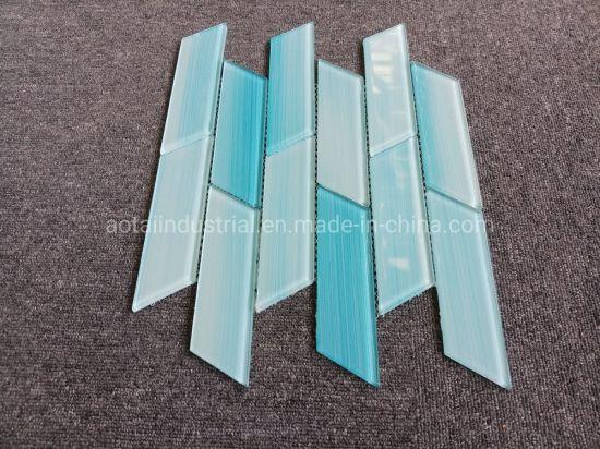 hot popular style light blue glass mosaic for glass subway tile backsplash