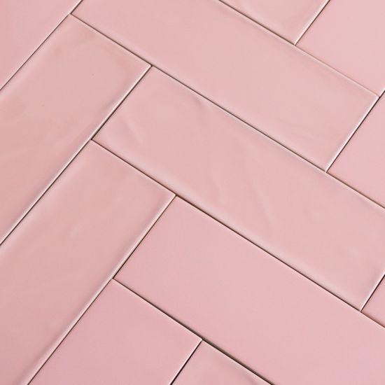 4 x12 handcraft pink kitchen wall subway tile 100x300mm