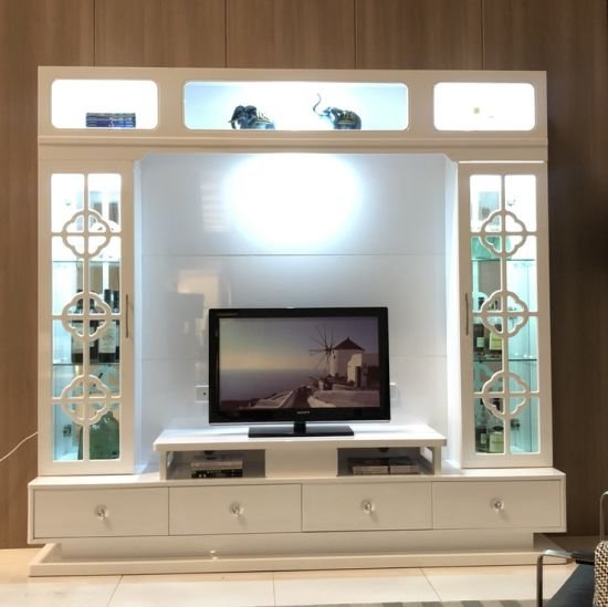 Chinese Living Room Tv Unit Wooden Tv Stand With Led China Tv Wall Unit Tv Cabinet