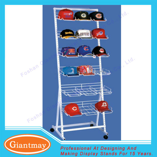6 tiers white retail wire hat display