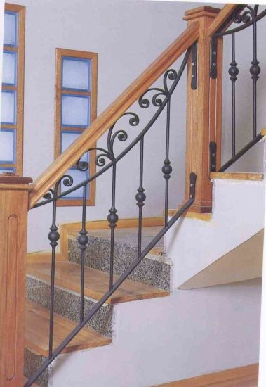 China Custom Made Wrought Iron Staircase Railing With Wooden Pole | Iron Railing With Wood Handrail | Stair Systems | Stair Parts | Metal | Stair | Staircase
