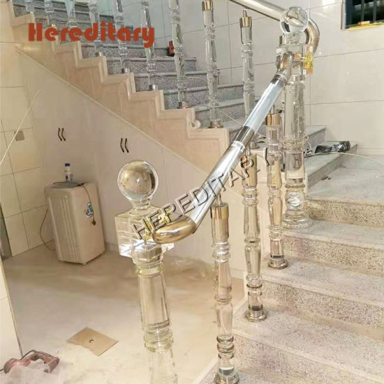 China Hot Sale Clear Crystal Acrylic Railing For Curved Staircase   Acrylic Handrails For Stairs   Design   Modern Stair   Glitter   Plexiglass   Decorative