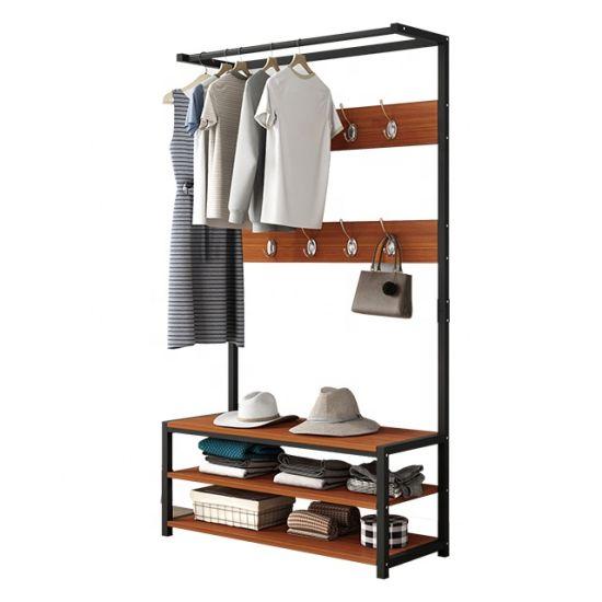 modern design metal coat rack oak mdf