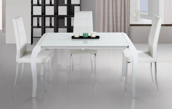 chine extension de verre blanche table