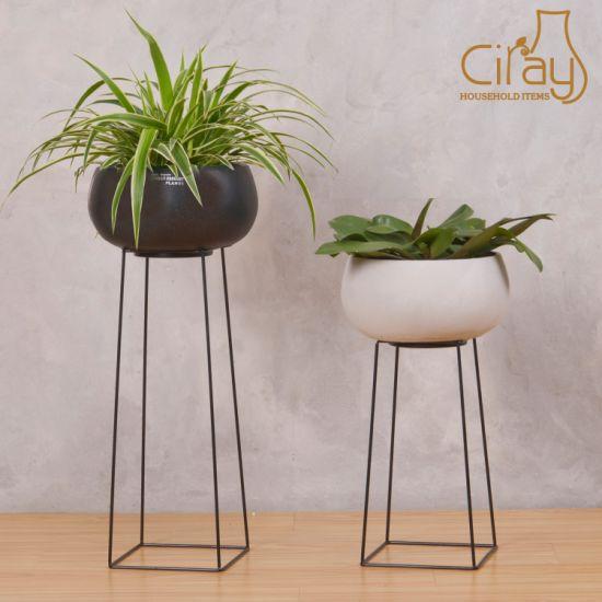 chine pot avec du ciment rond noir 50cm