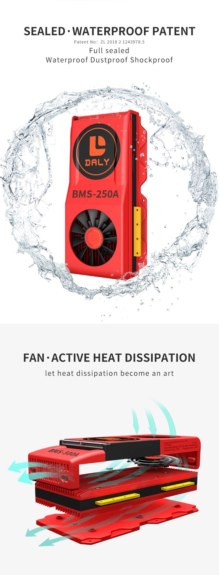 Daly Manufacture with Waterproof Function Liion 4s 12V 500A Common Port with Balanceand Fan BMS