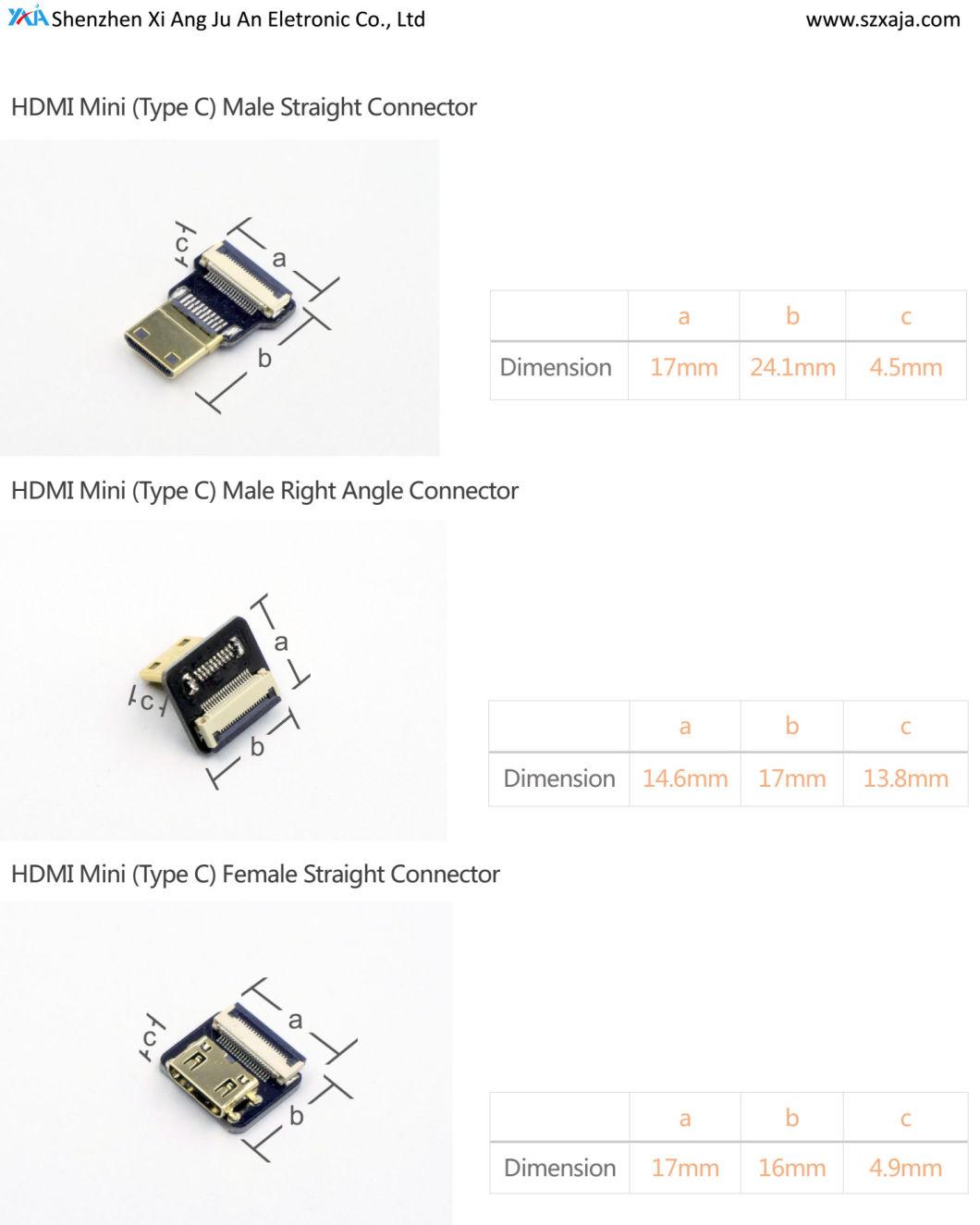 China Xaja Fpv Mini Hdmi Type C Connector Up Amp Down Angled