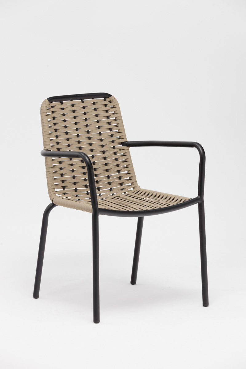 China Hot Sell Promotional Aluminum Outdoor Restaurant Rope Woven Dining Chair Furniture