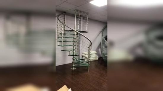 China Diy Modern Curved Glass Staircase Close To Elevator China   Glass Banister Near Me   Floating Staircase   Interior Railings   Interior Stairs   Spiral Staircase   Frameless Glass