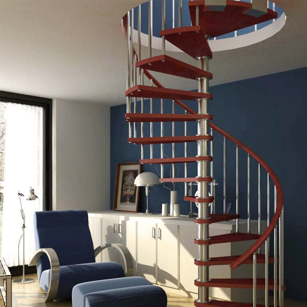 China Small Space Spiral Stair Pvc Handrail Wood Steps Spiral   Spiral Stairs For Small Spaces   Minimalist   Low Budget   Semi   Corner   Acrylic