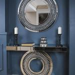 Hot Item Modern Elegant Round Wall Decorative Crystal Mirror Furniture With Console Table