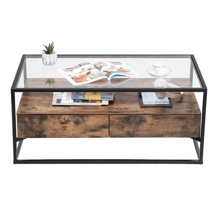 hot item glass coffee table with 2 drawers tempered glass top with storage shelf