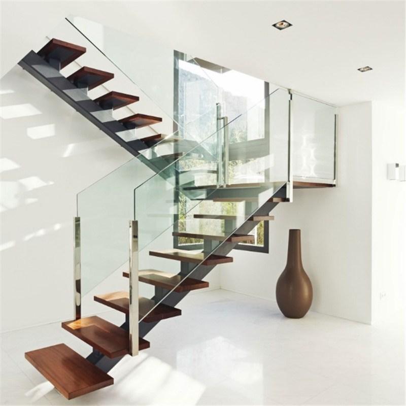 China Single Center Beam Straight Wood Staircase Glass Stair With   Wood And Glass Staircase   New   Spiral   Stair Railing   Design   Stair Case
