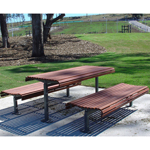 hot item steel frame wooden outdoor table and bench