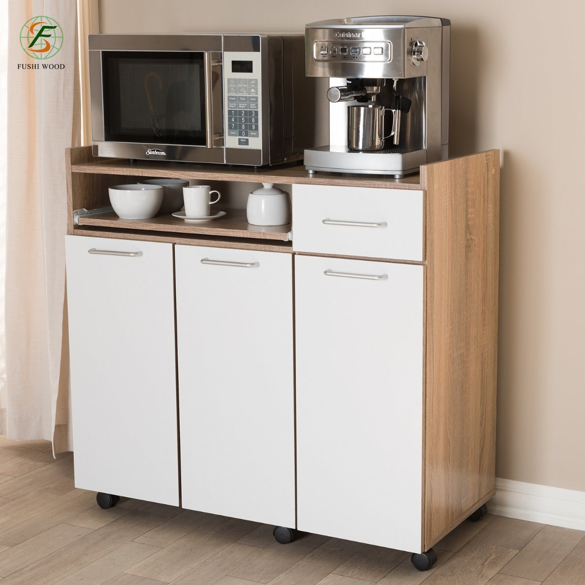 hot item oak and white finish kitchen cabinet with pulleys for microwave oven