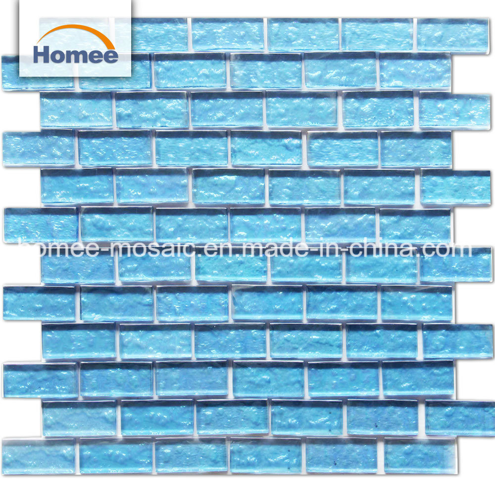 rectangle blue glass mosaic pool tile