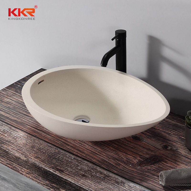 hot item egg shape counter top wash basin artificial marble basin