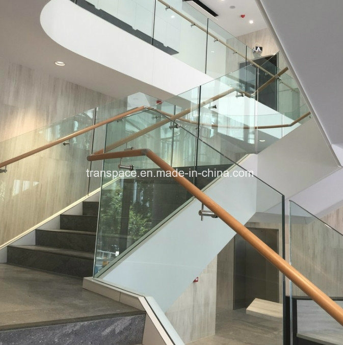 China Modern Stair Glass Balustrade Wood Handrail Design China | Glass Balustrade With Wooden Handrail | Contemporary | Glass Panel | Interior | Guardrail | Atrium