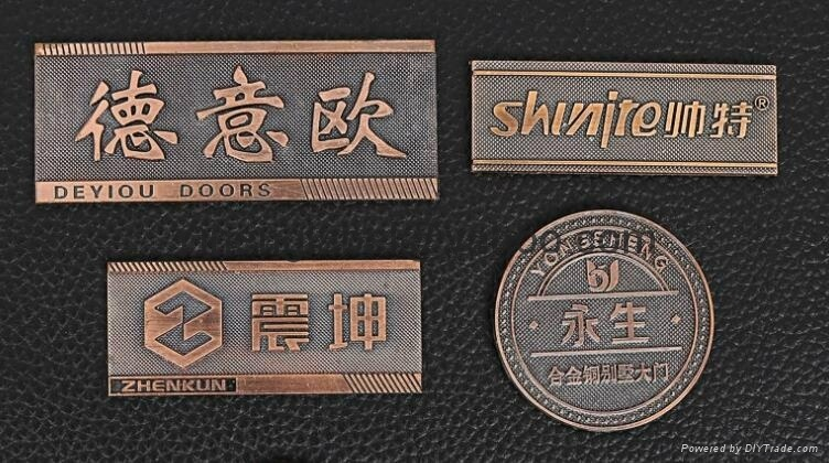 China Company Logo Embossed Metal Labels Sticker Custom Metal Label For Handbags For Furniture