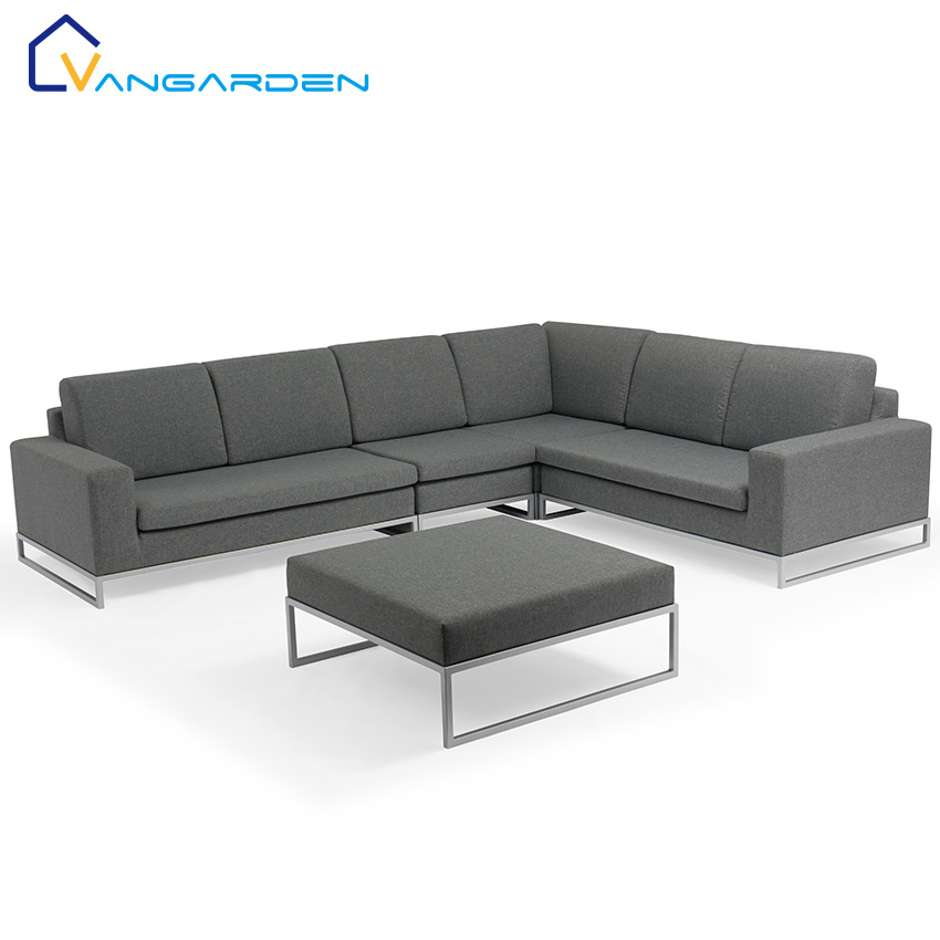 hot item upscale modern patio sofa set outdoor furniture grey fabric with sliver color aluminum frame