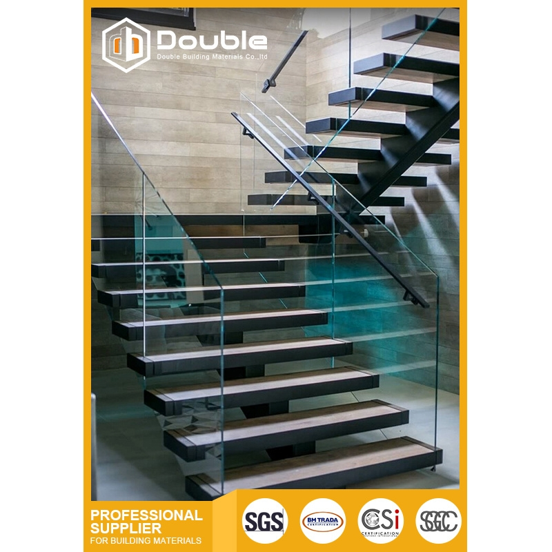 China Double Stainless Steel Handrail Wood Stair With Glass | Wood And Steel Handrail | Outdoor | Column | Stainless Steel | Balustrade | Ultra Modern Steel