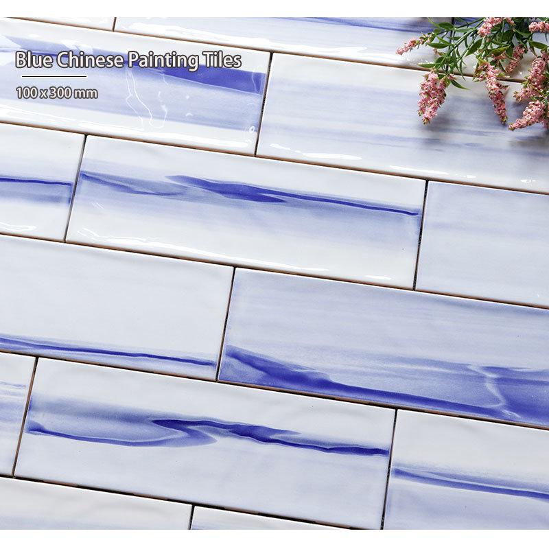 hot item waterproof kitchen backsplash wall 10x30cm 4 x12 glossy rough surface glazed blue subway tiles