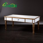 China Dongguan Home Furniture Champagne Gold Vanity Edge Mirrored Coffee Table China Coffee Table Table