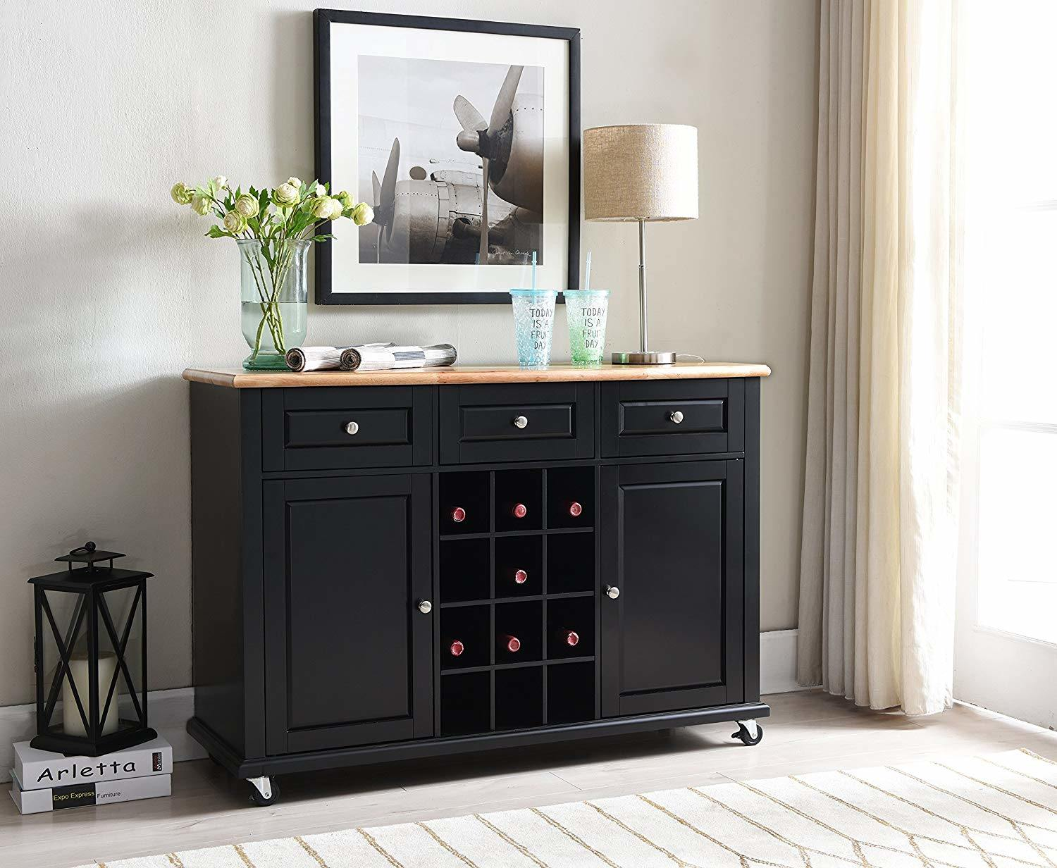 Chinese Furniture Wooden Buffet Wooden Kitchen Cabinet Easy Assembly Black Wine Rack Buffet Sideboard With Storage China Modern Kitchen Cabinet Antique Reproduction Furniture