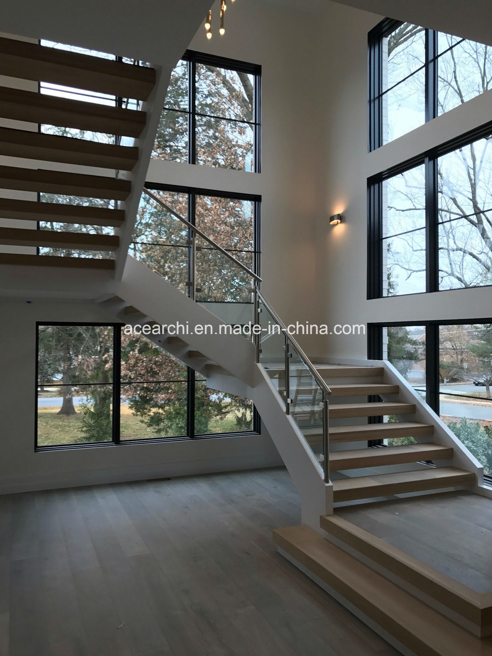 China Interior Stainless Steel Tempered Clear Glass Stair Railing   Staircase Window Glass Design   Geometric   Architecture   Flower   Residential   Glass Brick