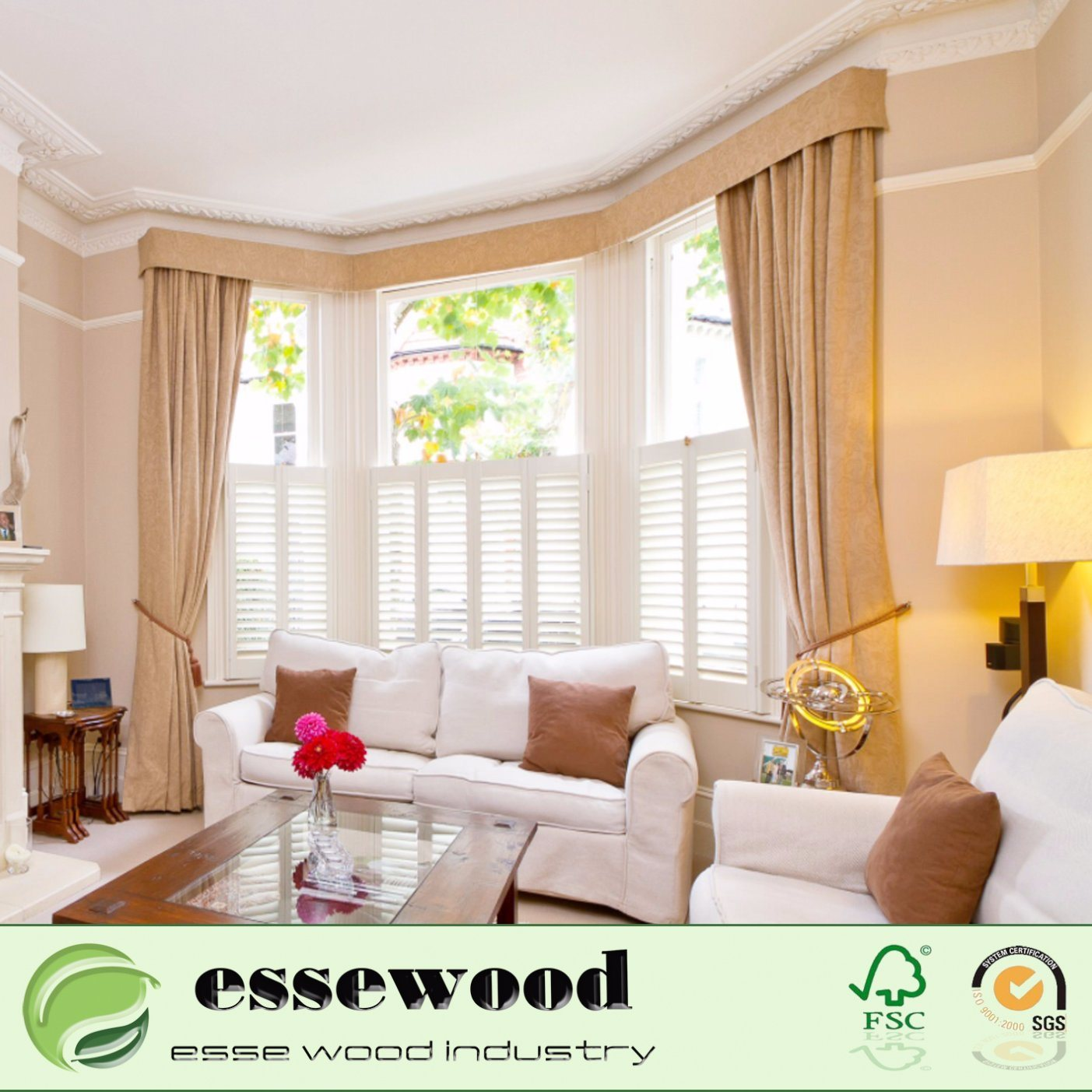 Hot Item Interior Living Room Plantation Style Pvc Wooden Window Blinds Shutters