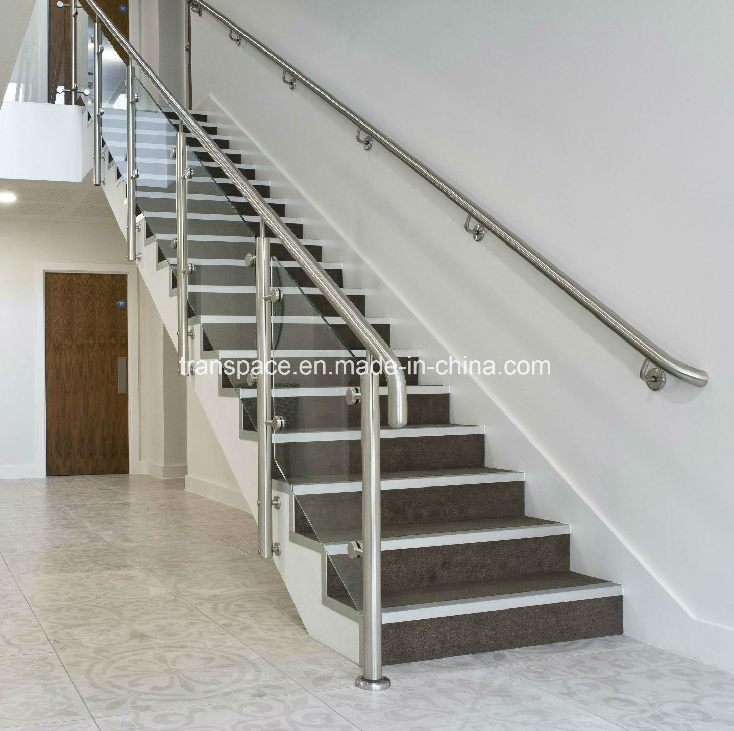 China Indoor Stainless Steel Glass Stair Balustrade Stainless | Stainless Steel Glass Staircase | Transparent | Handle | Powder Coated Steel | Open Tread | Black Stained