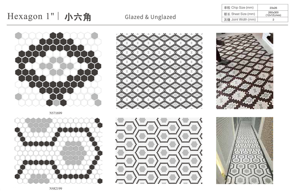 hot item anti slip unglazed kitchen splashback bathroom shower floor hexagon porcelain fullbody mosaic tile