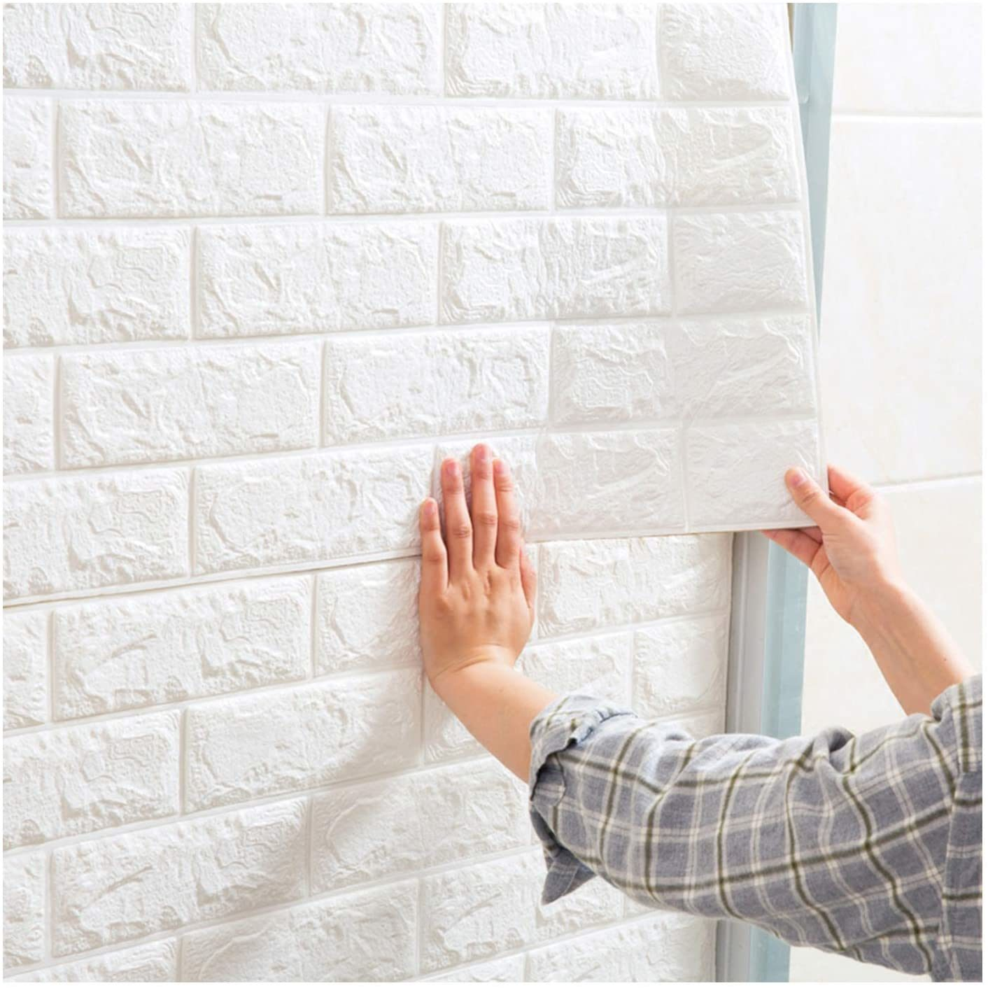 hot item white foam brick 3d wall panels peel and stick wallpaper adhesive textured brick wallpaper tiles for background wall decor cover