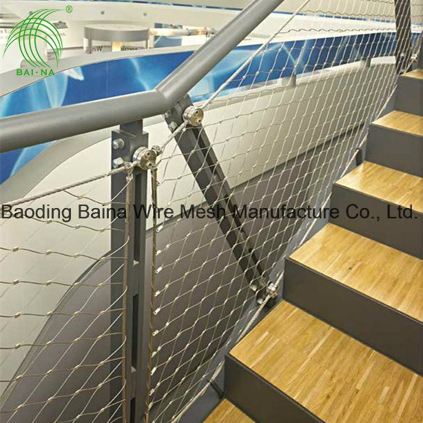 China Stainless Steel Wire Mesh Fence Netting Stair Railing Mesh | Wire Mesh Stair Railing | Exterior Perforated Metal | Galvanized Mesh | Staircase | Modern | Mesh Balustrade