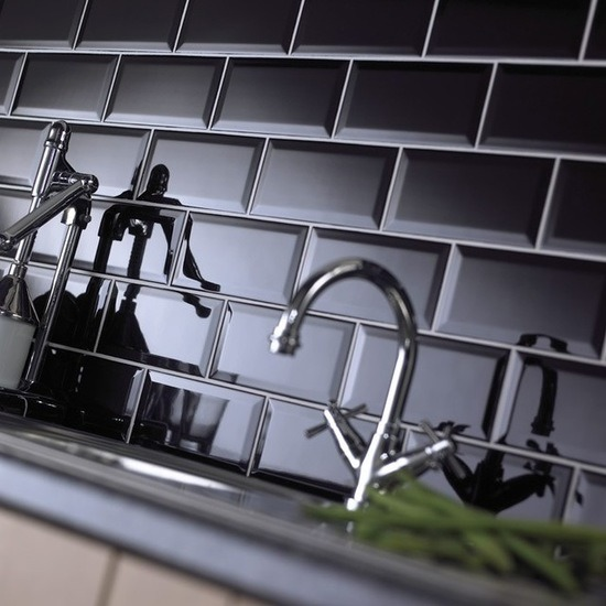 hot item 3 x6 7 5x15cm black glossy bevel subway tiles for kitchen backsplash bathroom wall