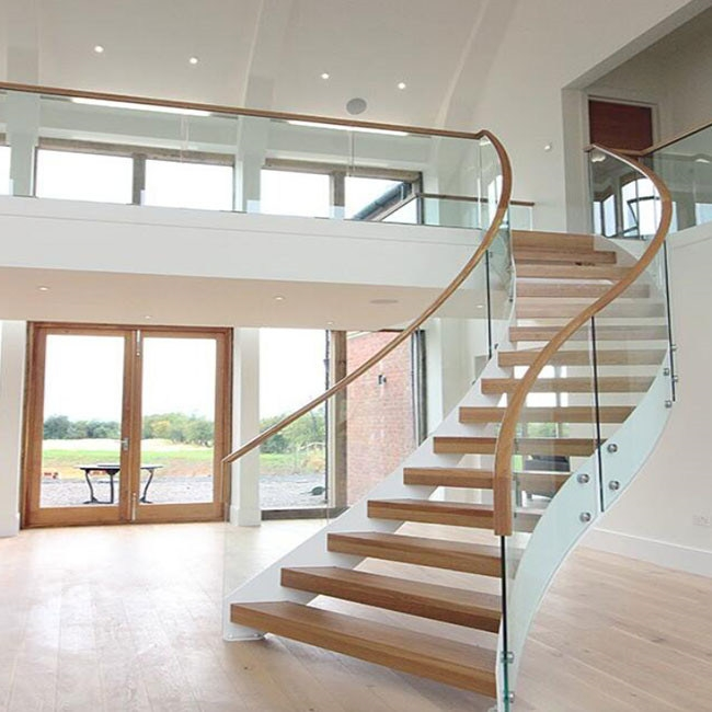 China Lobby Staircase Design Wood Glass Curved Staircase China   Stairs Design In Lobby   Entrance Lobby   Foyer   Architectural   Circle Elevator Design Home   White
