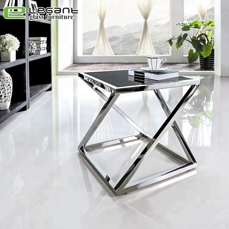 metal bracket square glass side table