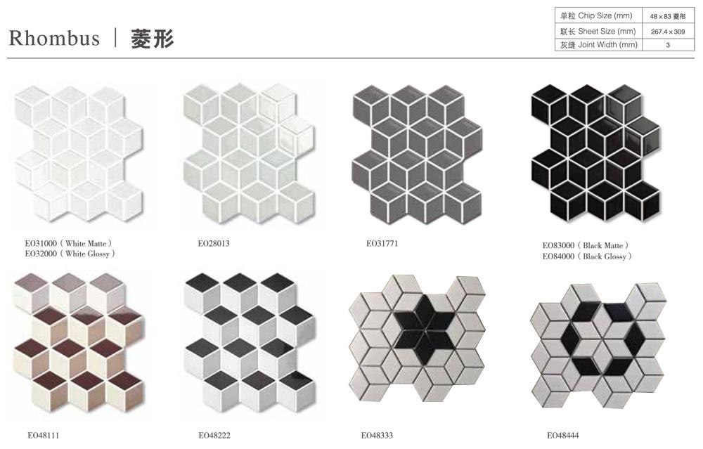 hot item black white rhombus geometric pattern porcelain mosaic tile for home livingroom floor wall decor
