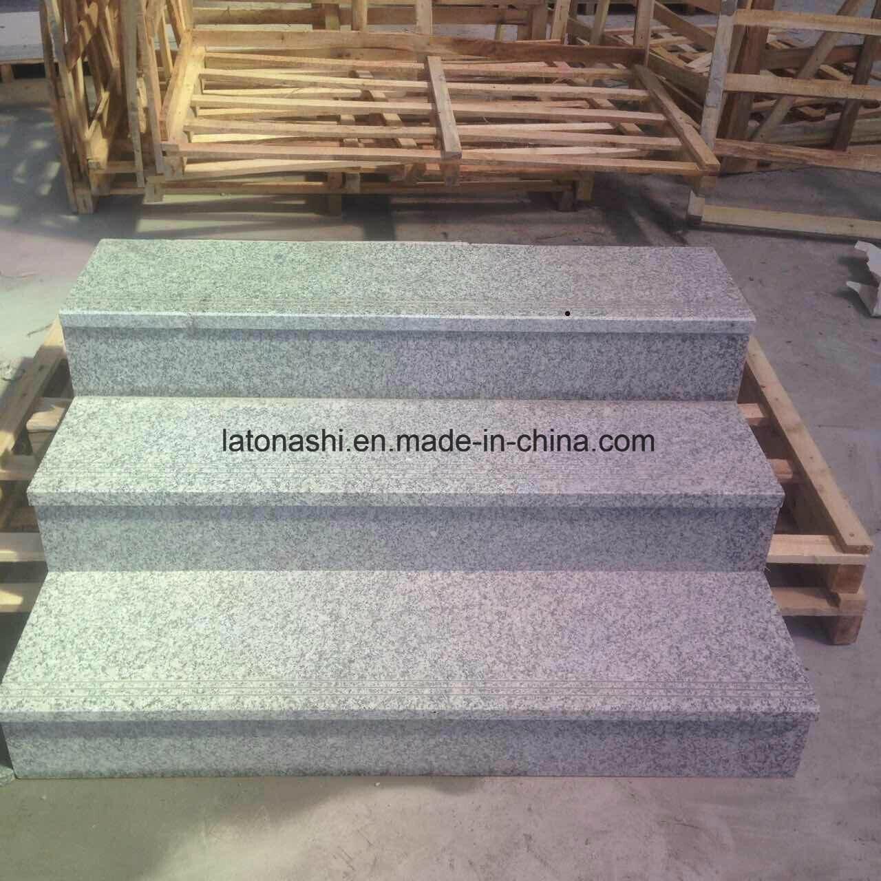 China Light Grey Granite Full Bullnose Outdoor Stair Steps Tread | Wood Stair Treads Lowes | Outdoor Stair | Deck | Stair Stringer | Handrail | Flooring