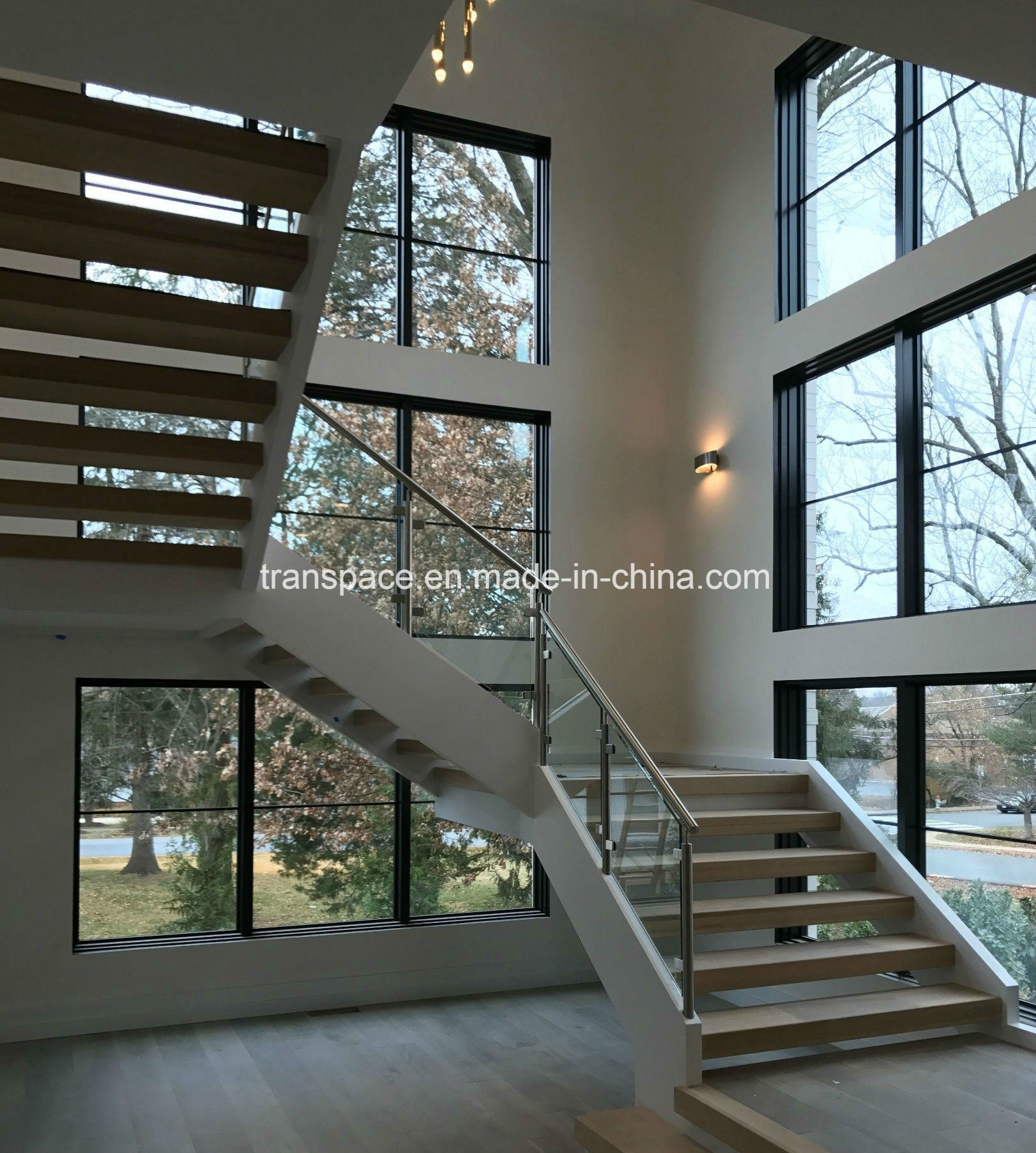China Modern Steel Wood Stair With Glass Balustrade For Villa | Stairs Window Glass Design | Classic | Foreign Window | Simple | Stairwell | Grill