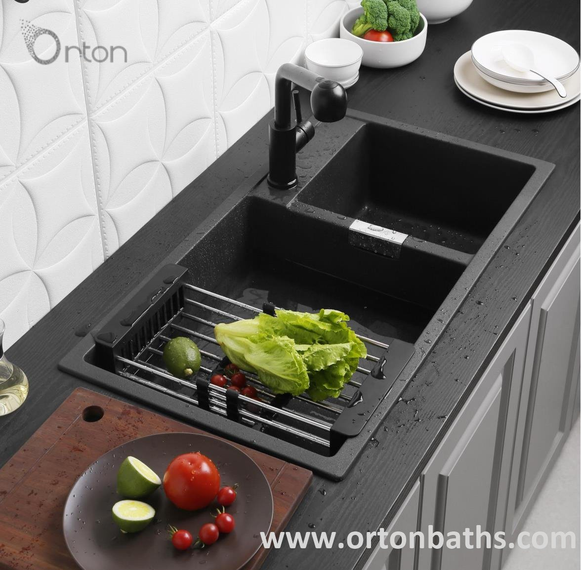 hot item matte black rectangular topmount quartz granite kitchen sink