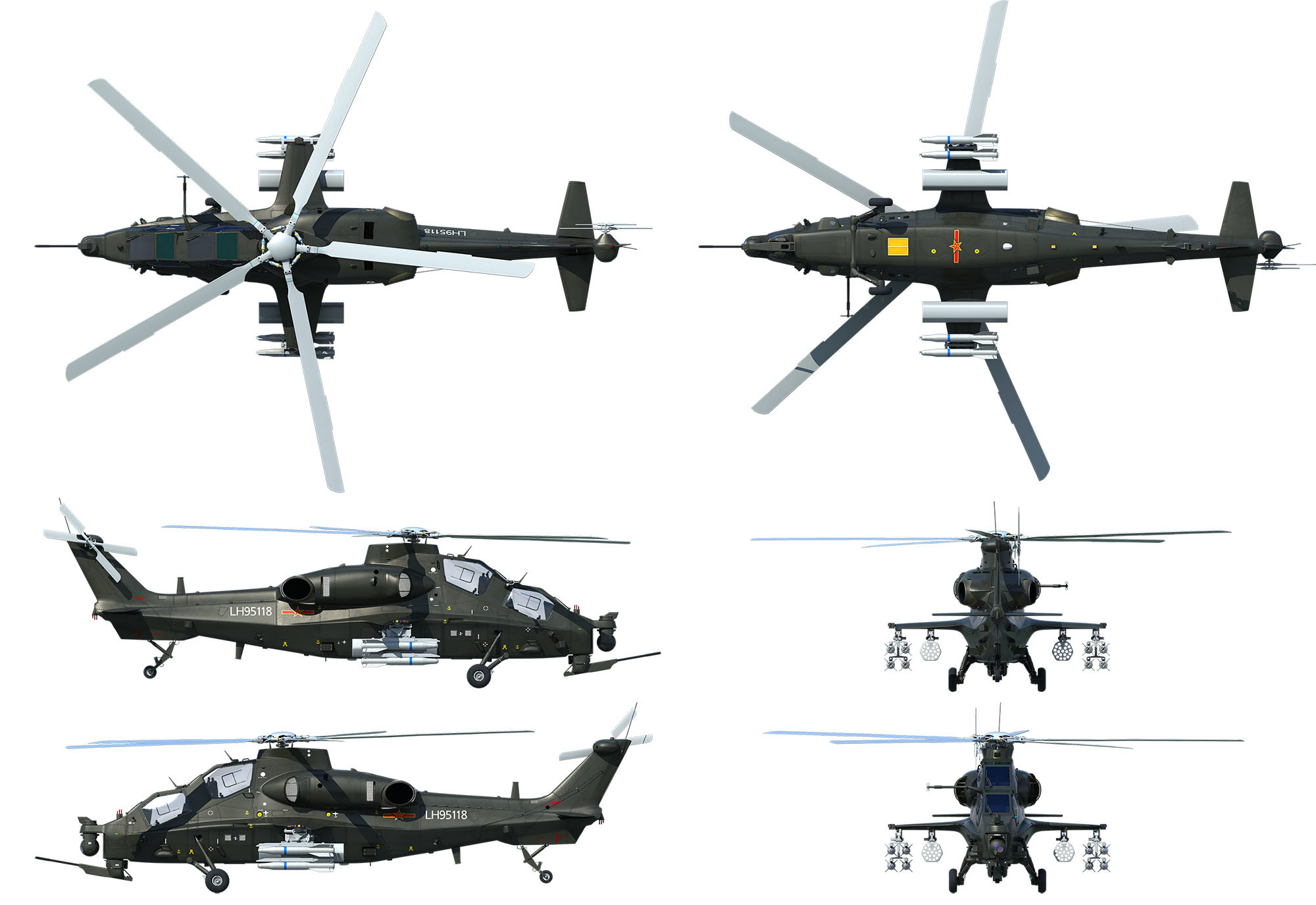 China Cast Alloy Z10 Armed Helicopter Model Aircraft