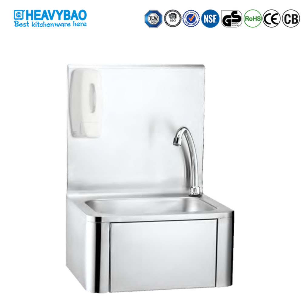 hot item heavybao commercial stainless steel knee foot push operated basin hand washing sink
