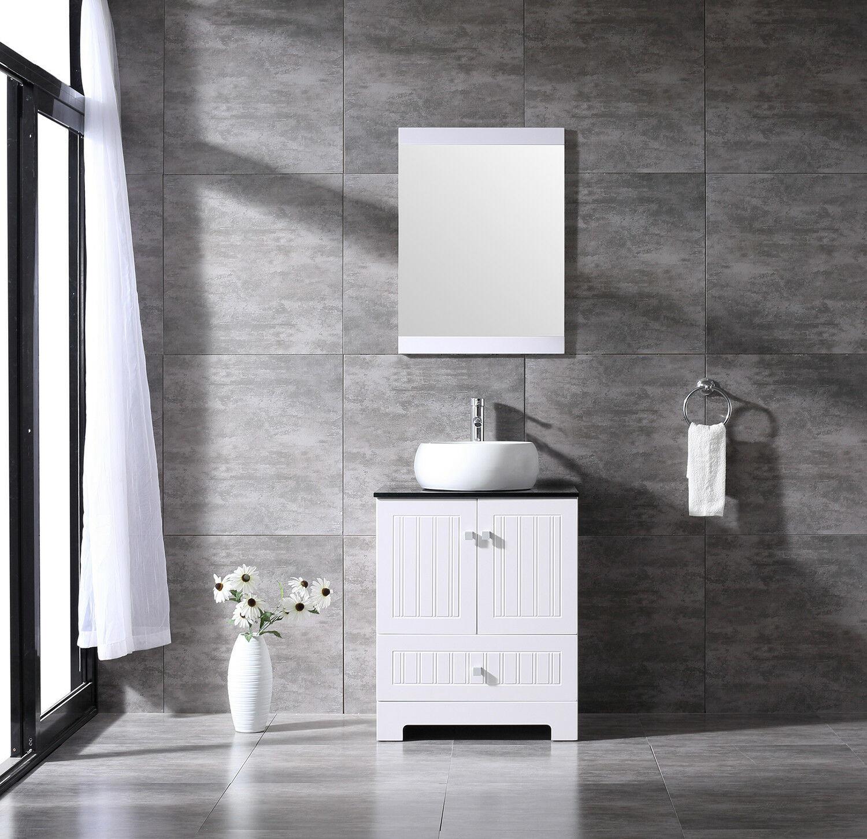 hot item bathroom vanity pvc cabinet 24inch round ceramic vessel sink bowl w mirror set