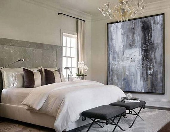 China Large Original Abstract Oil Painting Contemporary Art Hand Painted Large Wall Art Decor Black White Oil Painting Grey Large China Hand Painted Oil Paniting And Human Oil Painting Price