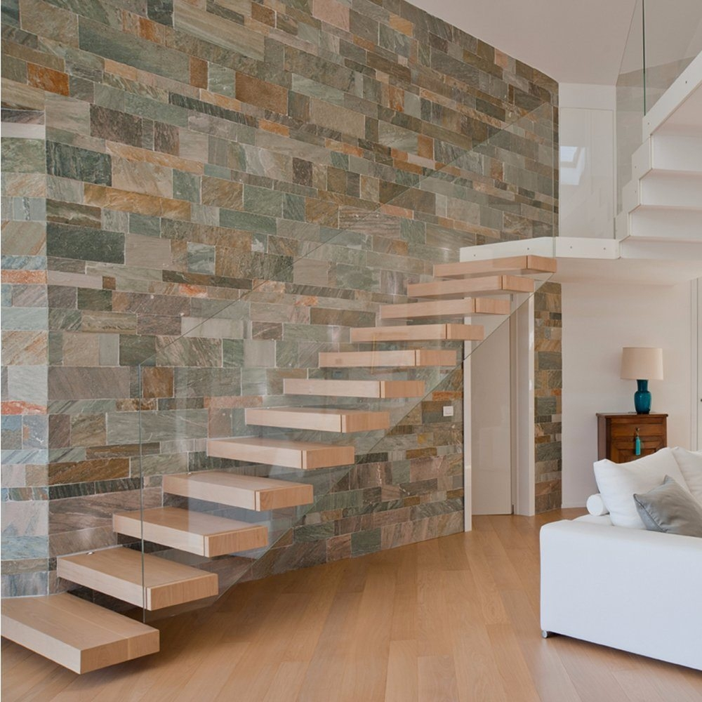 China Modern Indoor White Floating Staircase With One Side Glass | Stair Side Wall Tiles Design | Contemporary | Stencil | Outside | Single | Stair Outdoors