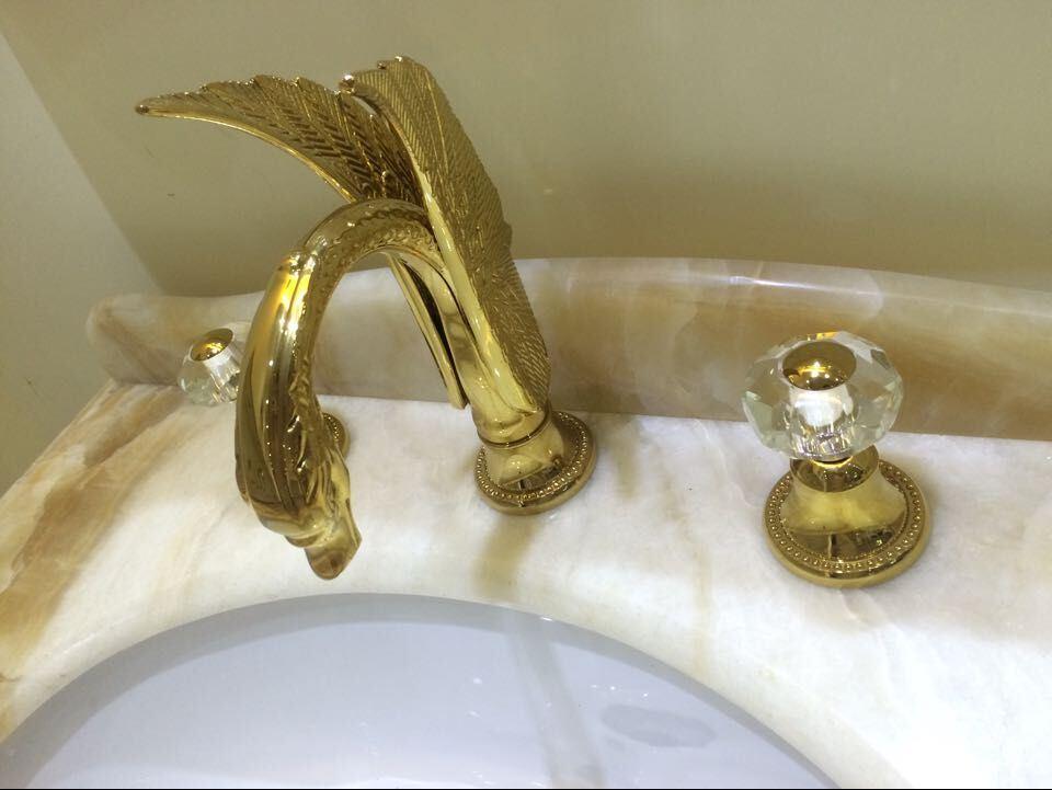 hot item golden 3 pcs 8 widespread lavatory swan bathroom sink faucet mixer tap crystal handles