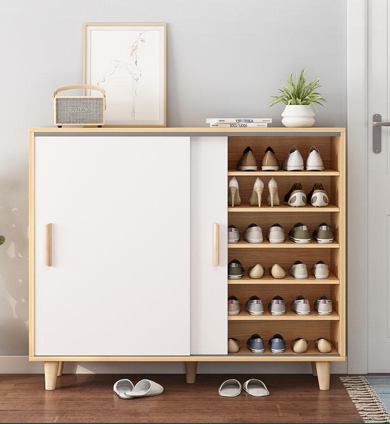 hot item nordic sliding door shoe cabinet household simple porch cabinet large capacity storage multi layer storage shoe rack