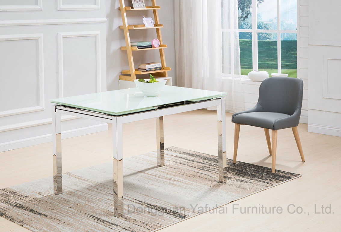 china white glass dining table