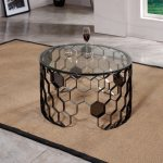 China Side Table Glass Round Coffee Table Stainless Steel Modern Bedroom Bedside Table Wrought Iron Frame Solid Support China Home Furniture Modern Furniture
